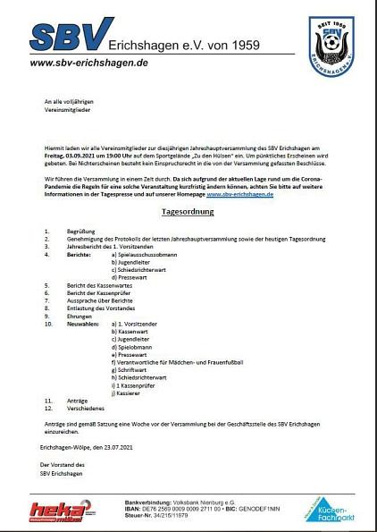 Einladung JHV 2021©SBV Erichshagen